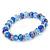 Sky/ Cobalt Blue Glass Bead With Silver Tone Crystal Ring Stretch Bracelet - up to 21cm Length