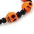 Orange Acrylic Skull Bead Children/Girls/ Petites Teen Friendship Bracelet On Black String - (13cm to 16cm) Adjustable - view 2
