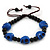 Dark Blue Acrylic Skull Bead Children/Girls/ Petites Teen Friendship Bracelet On Black String - (13cm to 16cm) Adjustable