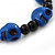 Dark Blue Acrylic Skull Bead Children/Girls/ Petites Teen Friendship Bracelet On Black String - (13cm to 16cm) Adjustable - view 2