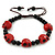 Dark Red Acrylic Skull Bead Children/Girls/ Petites Teen Friendship Bracelet On Black String - (13cm to 16cm) Adjustable