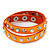Neon Orange Leather Style Crystal and Spike Studded Wrap Bracelet - Adjustable (One Size Fits All)