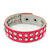 Crystal Studded Neon Pink Faux Leather Strap Bracelet - Adjustable up to 20cm