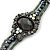 Victorian Style Black, Grey, AB Beaded Bracelet In Gun Metal Finish - 15cm Length/ 5cm Extension - view 2