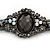 Victorian Style Black, Grey, AB Beaded Bracelet In Gun Metal Finish - 15cm Length/ 5cm Extension - view 4
