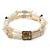 Two Strand Shell, Glass, Imitation Pearl Bead Flex Bracelet (Cream, Anitque White) - 18cm Length