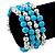 Light Blue Ceramic & Silver Tone Acrylic Bead Coiled Flex Bracelet - Adjustable