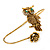 Gold Tone Topaz, Citrine Crystal Owl Palm Bracelet - Up to 19cm L/ Adjustable - view 3