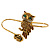 Gold Tone Topaz, Citrine Crystal Owl Palm Bracelet - Up to 19cm L/ Adjustable - view 4