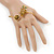 Gold Tone Topaz, Citrine Crystal Owl Palm Bracelet - Up to 19cm L/ Adjustable - view 2