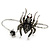Silver Black, Grey Crystal Spider Palm Bracelet - Up to 19cm L/ Adjustable