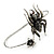 Silver Black, Grey Crystal Spider Palm Bracelet - Up to 19cm L/ Adjustable - view 4
