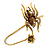 Gold Tone Topaz, Citrine Crystal Spider Palm Bracelet - Up to 19cm L/ Adjustable - view 5