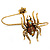 Gold Tone Topaz, Citrine Crystal Spider Palm Bracelet - Up to 19cm L/ Adjustable - view 6