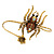 Gold Tone Topaz, Citrine Crystal Spider Palm Bracelet - Up to 19cm L/ Adjustable - view 1