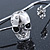 Silver Tone Crystal Skull Palm Bracelet - Up to 19cm L/ Adjustable - view 2