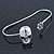 Silver Tone Crystal Skull Palm Bracelet - Up to 19cm L/ Adjustable - view 4