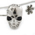 Silver Tone Crystal Skull Palm Bracelet - Up to 19cm L/ Adjustable - view 7