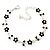 Rhodium Plated Jet Black Crystal Daisy Bracelet - 16cm Length/ 5cm Extension