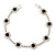Black/ Clear Swarovski Crystal Floral Bracelet In Rhodium Plated Metal - 17cm L