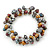 7mm Multicoloured Freshwater Pearl and Transparent Glass Bead Stretch Bracelet - 18cm L