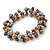 7mm Multicoloured Freshwater Pearl and Transparent Glass Bead Stretch Bracelet - 18cm L - view 5