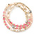 Pink Glass Crystal Bead, Agate Stone, Freshwater Pearl Flex Bracelet/ Necklace - 52cm L