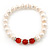 8mm White Freshwater Pearl with Semi-Precious Carnelian Stone Stretch Bracelet - 18cm L - view 7
