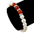 8mm White Freshwater Pearl with Semi-Precious Carnelian Stone Stretch Bracelet - 18cm L - view 2