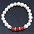 8mm White Freshwater Pearl with Semi-Precious Carnelian Stone Stretch Bracelet - 18cm L