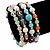 Multicoloured Semi-Precious Stone, Freshwater Pearl and Crystal Bead Flex Bracelets - Set Of 4 Pcs - 18cm L - view 2