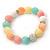 12mm Pastel Multicoloured Dyed Jade Semi-Precious Stone, Crystal Ball, Crystal Spacer Flex Bracelet - 18cm L