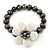 12mm Grey/ White Freshwater Pearl Flex Bracelet With A Mother Of Pearl Central Flower - 17cm L