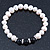8mm - 9mm White Freshwater Pearl with Semi-Precious Black Agate Stone Stretch Bracelet - 18cm L