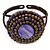 Purple/ Bronze Shell Bead, Dome Shape Woven Flex Cuff Bracelet - Adjustable