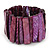Wide Purple Shell Bar Stretch Bracelet - up to 20cm L