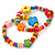 Children's/ Teen's / Kid's Multicoloured Wood Bead with Flowers Flex Bracelet - Set of 2pcs - Adjustable