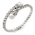 Bridal/ Wedding/ Prom Clear Crystal, White Glass Pearl Flex Bracelet In Rhodium Plating - Adjustable