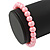 8mm Light Pink Pearl Style Single Strand Bead Flex Bracelet - 18cm L - view 3