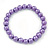 8mm Purple Pearl Style Single Strand Bead Flex Bracelet - 18cm L - view 5