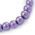 8mm Purple Pearl Style Single Strand Bead Flex Bracelet - 18cm L - view 4