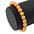 8mm Golden Yellow Pearl Style Single Strand Bead Flex Bracelet - 18cm L - view 3
