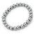8mm Grey Pearl Style Single Strand Bead Flex Bracelet - 18cm L