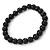 8mm Black Pearl Style Single Strand Bead Flex Bracelet - 18cm L