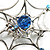 Silver Plated Rhinestone Spider Web Brooch - view 4