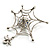 Silver Plated Rhinestone Spider Web Brooch - view 5