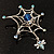 Silver Plated Rhinestone Spider Web Brooch - view 9
