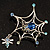 Silver Plated Rhinestone Spider Web Brooch - view 11