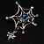 Silver Plated Rhinestone Spider Web Brooch - view 12
