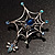 Silver Plated Rhinestone Spider Web Brooch - view 6